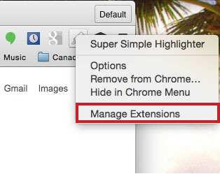 Super Simple Highlighter manage extensions