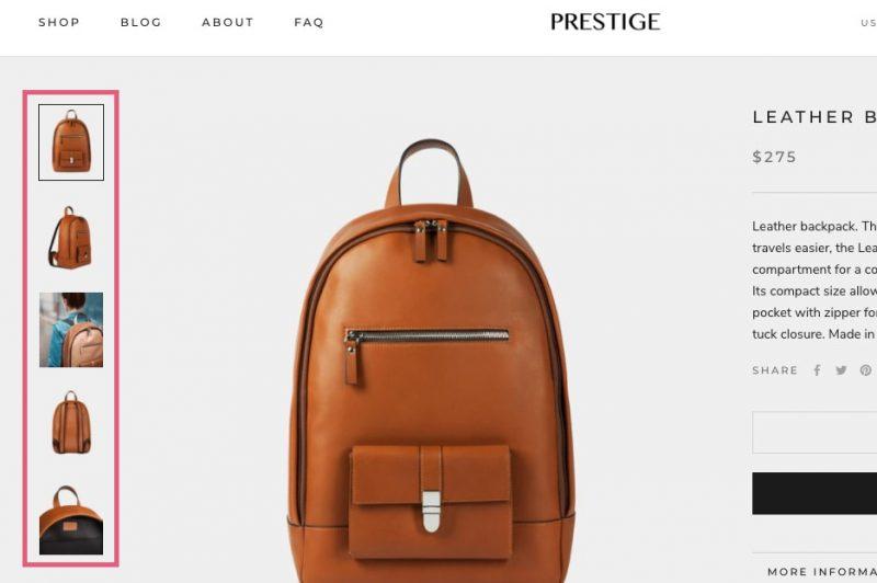 Shopify Prestige サムネイル表示 例